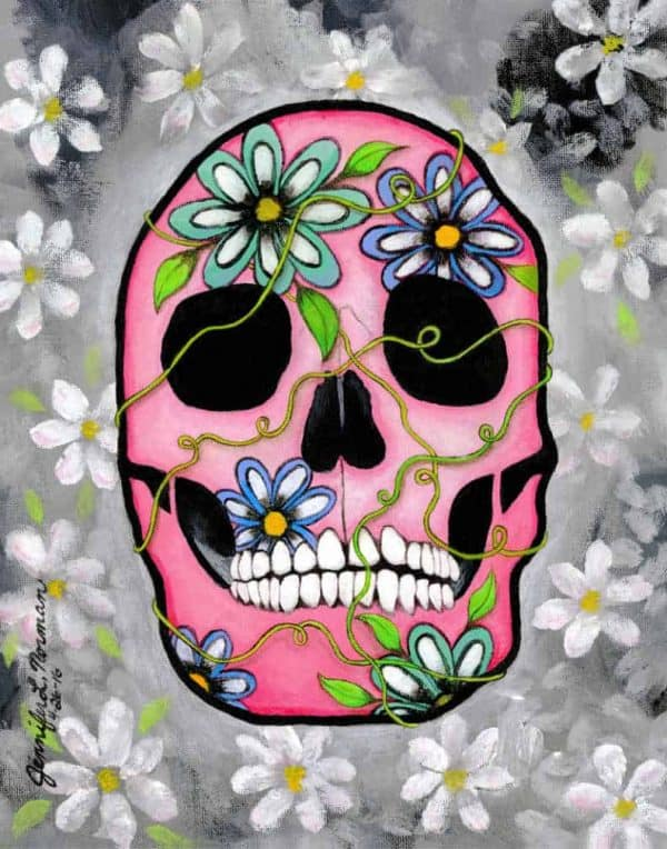 Color Pink Skull with flower